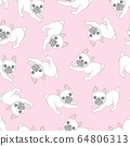 Seamless pattern with cute dogs on blue. Background for fabric, textile design, wrapping paper or wallpaper. French bulldog 64806313