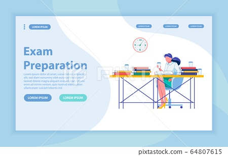 Exam Preparation Vector Landing Page with Banner 64807615