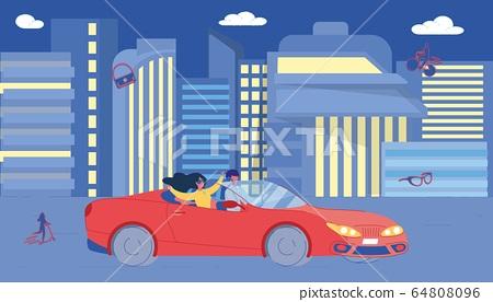 Happy Couple Driving Car on Night City Street 64808096