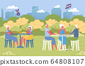 Elderly People Play Bingo or Lotto Game in Park. 64808107