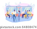 Banner People Comfortably Ride Subway, Cartoon. 64808474
