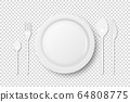 Vector 3d Realistic White Plastic, Paper Disposable Food Dish, Cutlery - Plate, Spoon, Fork, Khife Icon Set Isolated. Top View. Design template, Mock up for Graphics, Branding Identity, Printing 64808775