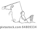 Vector Funny Cartoon Illustration of Fisherman with Dip Net Standing in Water Trying to Catch Fish. Fish Is Laughing Him From the Shore. 64809334