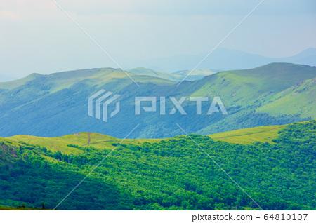 path through mountain range. beautiful alpine 64810107