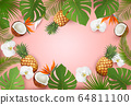 Summer tropical background with palm leaves and 64811100