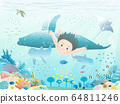 Illustration of a boy diving in the beautiful sea 64811246