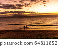 하와이주,마우이, 황혼,일몰,사람,두사람 64811852
