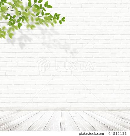 背景牆地板磚白色分支 64812131