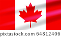 Realistic Canadian Flag with eleven-pointed red maple leaf developing in the wind. Flat vector illustration EPS10 64812406