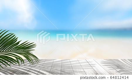 背景夏天海沙灘風景圖片 64812414
