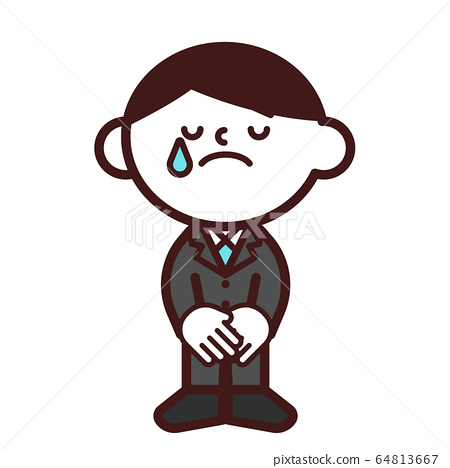 Business suit whole body male bowing apology crying 64813667