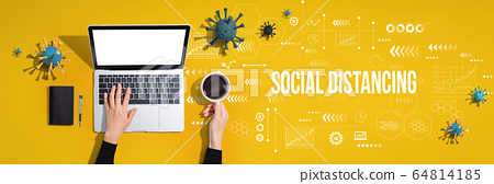 Social Distancing theme with person using laptop computer 64814185