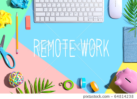 Remote Work theme with office supplies 64814238