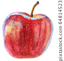 Watercolor red ripe apple on white background 64814523