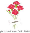 康乃馨花束紅色 64817948