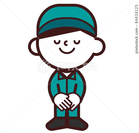People workwear workwear men whole body bowing greetings thanks 64818125