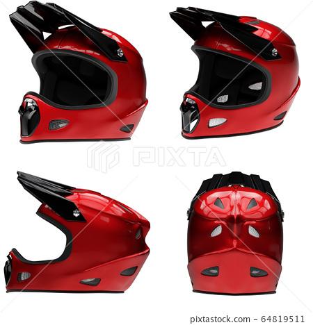 Set of Motor Sport FullFace Helmet Isolated 64819511