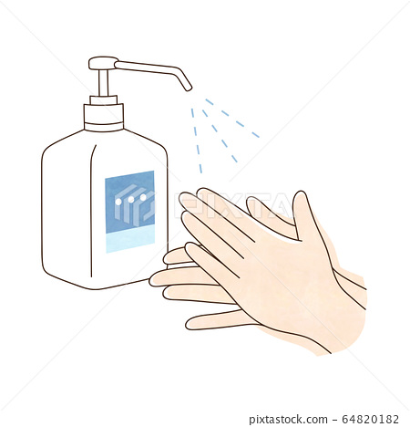 Alcohol disinfection both hands 64820182