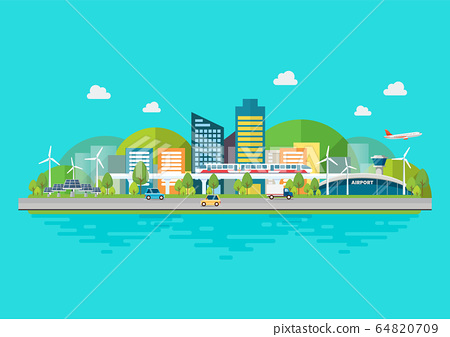Sustainable eco friendly cityscape with 64820709
