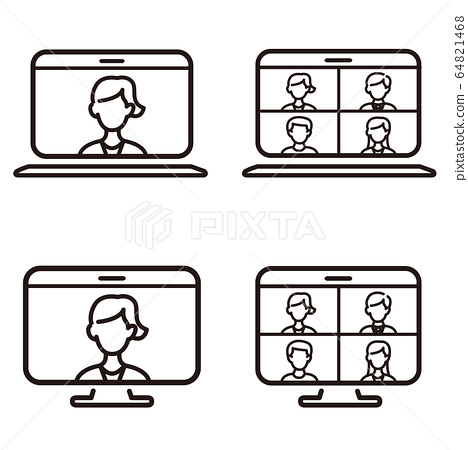 Remote Work Icon Set Stock Illustration 64821468 Pixta Free icons of work in various ui design styles for web, mobile, and graphic design projects. https www pixtastock com illustration 64821468