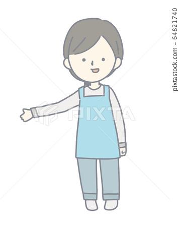 A woman wearing an apron 64821740