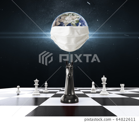 Earth wearing Mask protection with Chess on the chessboard. Chess business concept, leader & success.  Global Collaborate Problem Solution Strategy and Planning Concept to safe world. 3D Illustration. 64822611