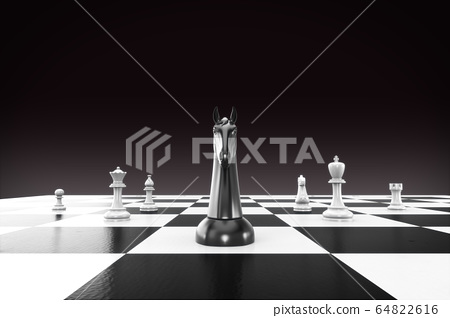 Chess business concept, leader & success. 3D Render Chessboard with Black Horse Leader for Business Strategy and Planning Concept. Isolated with Clipping Path,  Clipping mask. 64822616