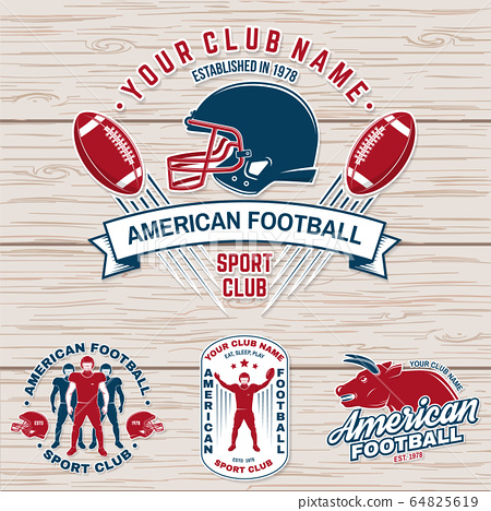 Set of american football or rugby club badge. Vector for shirt, logo, patch. Vintage design with american football sportsman player, helmet, ball, grass and shoulder pads silhouette 64825619