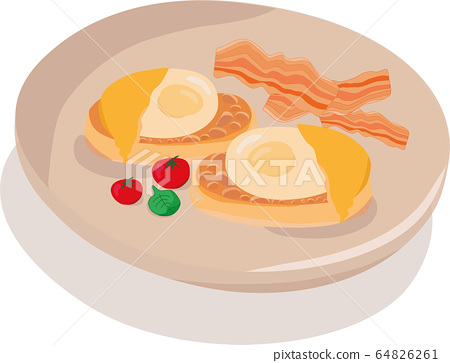 egg benedict - illustration for breakfast menu in a hotel, cafe, restaurant, diner poster for a wall decoration home kitchen, print for kitchen tool, print industry. Web site and land page design.  64826261