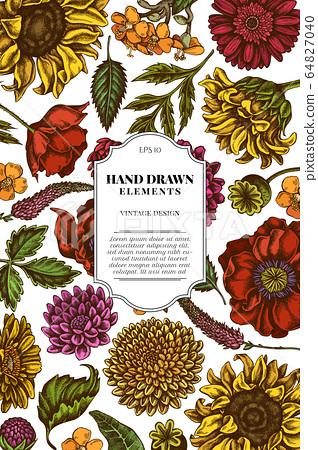 Card design with colored poppy flower, gerbera, sunflower, milkweed, dahlia, veronica 64827040