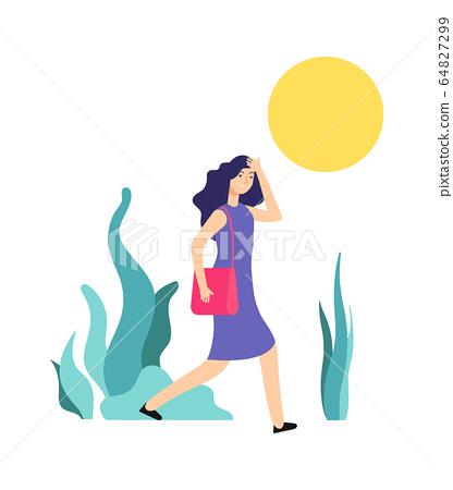 Hot weather. Sunny summer day, woman walks. Girl is hot, heat or sunstroke. Wrong summertime behavior vector illustration 64827299