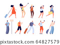 Tourist people. Traveler characters, adult travelling with bags. Isolated youngs man, woman with camera and suitcase or luggage vector set 64827579