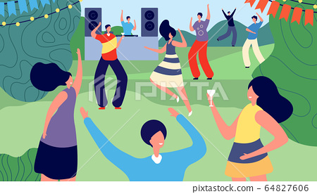 Garden party. Adult outdoor barbecue. Women men in summer park. Disco, friends drinking and recreation. Backyard leisure vector illustration 64827606