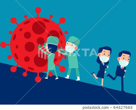 Doctors help stop the virus. Pandemic COVID-19, 64827668
