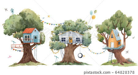 Beautiful set with three cute watercolor children tree houses. Stock illustration. 64828378