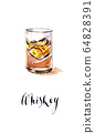 Glass with whiskey and ice 64828391