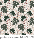 Beautiful terrazzo seamless pattern with monstera, cheese plant leaves. Decorative stone texture. Repeating tile, summer tropic design for branding, textile, wallpapers. Vector illustration background 64828629