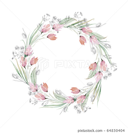Watercolor bohemian wreath Boho Wreath with roses  Hand-painted wreath Wedding wreath Decor wreath Roses bouquet Floral wreath Flower boho
