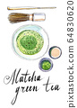 Powdered japanese Matcha green tea with bamboo spoon, whisk for whipping, top view 64830620