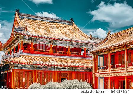 Beautiful View of Yonghegong Lama Temple.Beijing. 64832654