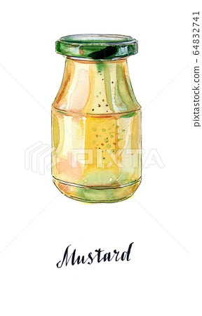 Glass jar of mustard with green lid 64832741