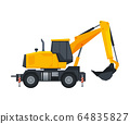 Excavator Heavy Construction Machine, Special Transport, Side View Flat Vector Illustration 64835827