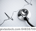 Stethoscope and cardiogram 64836709