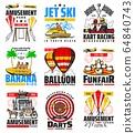 Kart racing, darts and banana rides amusement park 64840743