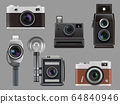 Vintage cameras. Electronic gadgets retro photo technic for professional workers vector realistic illustrations isolated 64840946