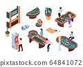 Casino people. Gaming nightclub cards poker slot machine gambling characters vector isometric illustrations 64841072