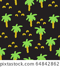 Painted palm trees on black seamless pattern 64842862