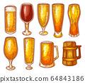 Beer glasses, pint, mug, craft beer brewery sketch 64843186
