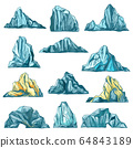 Sketch icebergs, mountain rocks and icy mounts 64843189