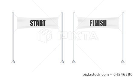 Start finish. Winner banner. Flat line cartoon 64846290